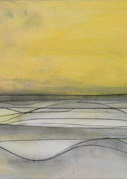 Drawing of sea waves against yellow sky.