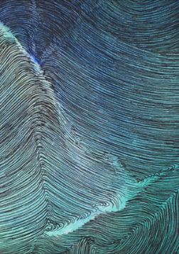 Multi line pen and ink drawing of swell of the sea washed with sea blues and greens.