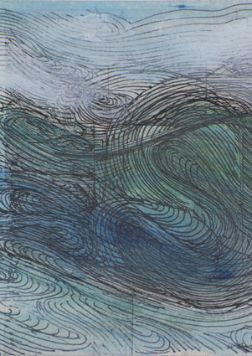 Drawing of swirling waves describing music of the sea washed with sea blues and greens with white highlight.