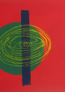 Green disk set behind blue bar, with yellow whirling lines in circular motion that suggest disk is spinning, offset against red background.