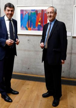 Portrait of Wilhelmina Barns-Graham Trust Chairman Geoffrey Bertram with Rt Hon Ken Macintosh MSP, Presiding Officer of the Scottish Parliament at the launch of the loan of paintings by Wilhelmina Barns-Graham to the Scottish Parliament Building.