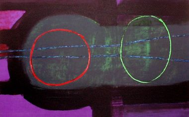 Two outline shapes, red circle to left, green oval to right, hover over an enclosed space with heavy dark outline, surrounded by purple background.