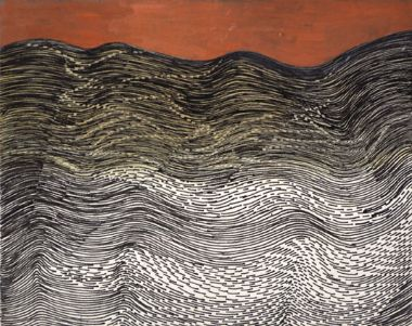 Tightly drawn line drawing of sea movement set against orange sky